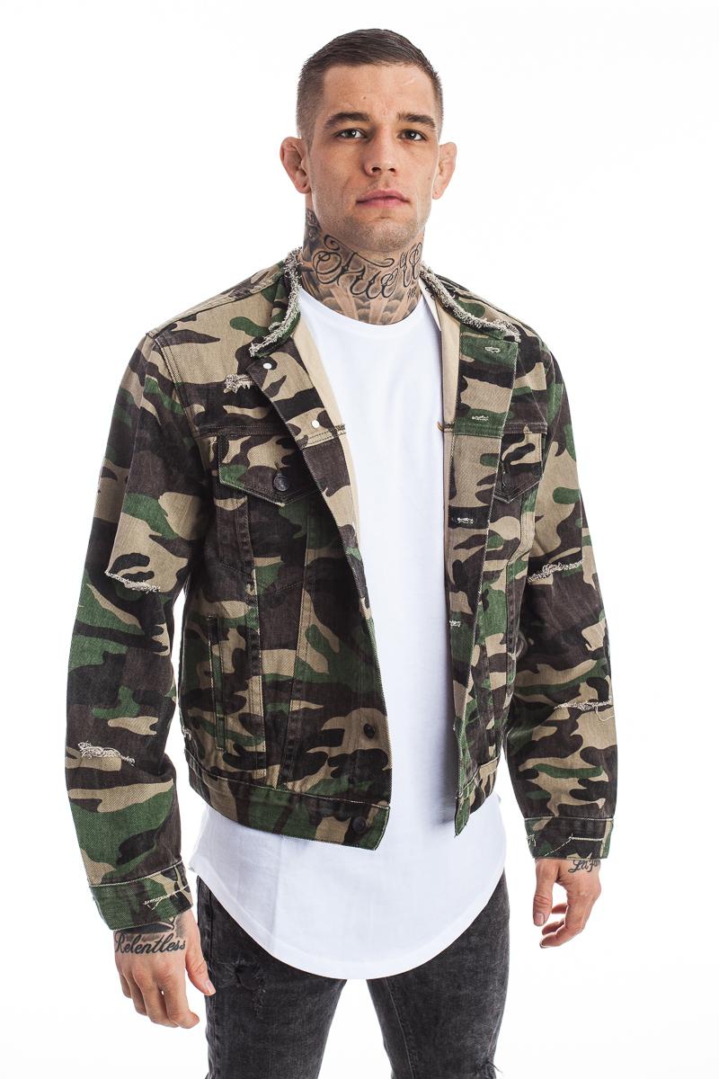 bc67f685e5 Sik Silk Camo Collarless Denim Jacket - Camo - Staflords Fashion